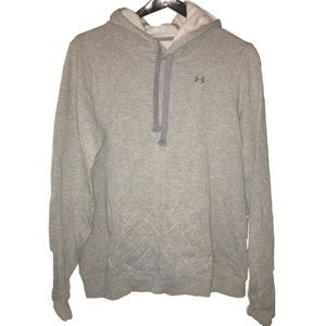 Gray Under Armour Hoodie Spell Out On Back